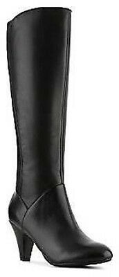 Naturalizer Babette WIDE CALF Black Leather Stretch Fashion Knee High Boots 10
