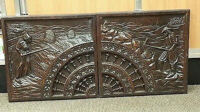 "2 Panels 16.5 X 17""  Antique Dutch Hand Carved Wood Panels"