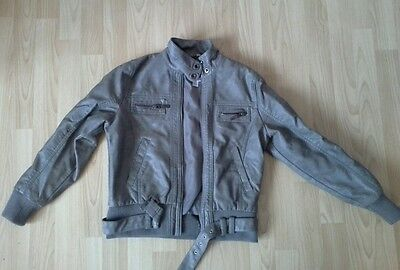 Gisr Age 11-12 Grey Leather Jacket From Next