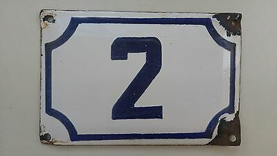 vintage ISRAELI  enamel porcelain number 2  house sign # 2 CHRISTMAS SALE !