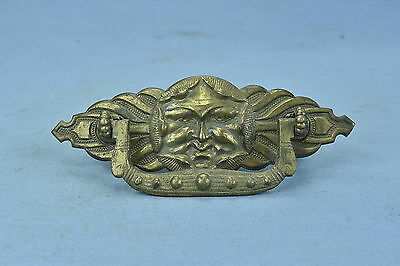 Antique VICTORIAN BRASS FIGURAL DRAWER HANDLE PULL ONLY SUN DESIGN RESTORATION