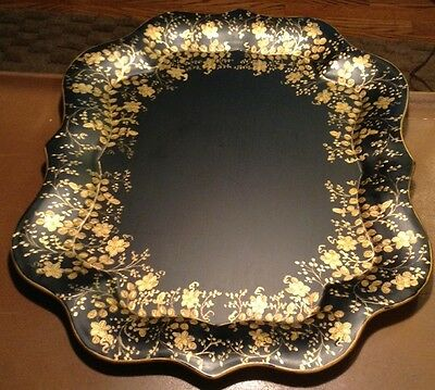 """Vintage Black Hand Painted Gold Tole Tray 18.5"""" X 15"""" Signed Exquisite Condition"""