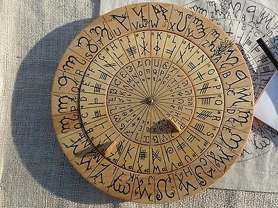 Cypher Wheel Cipher Disk Wood with Theban Ogham Enochian Celtic Rune Renaissance