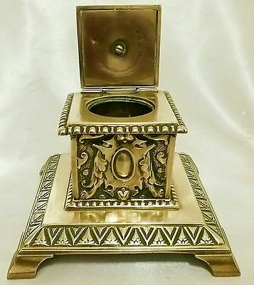 Antique/Vintage Ornate Brass Inkwell