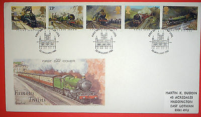 GB illustrated first day cover with special handstamp - 1985 Trains