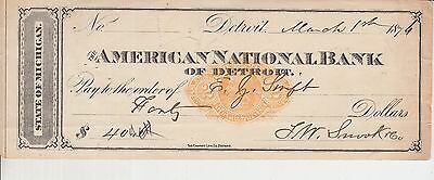 Vintage Cheque - 1874 American National bank of detroit