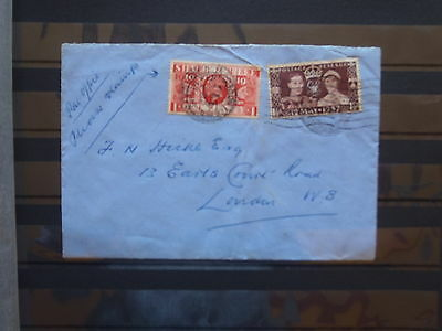 GB Stamps: Envelope with late George V and early George VI stmps