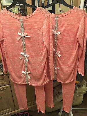 FCL Girls Lounge Sets Ages 12 & 13 years Bling & Pink bows on back BNWT