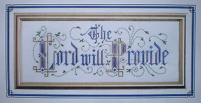 "Victorian Motto Sampler ""The Lord Will Provide"" Chart and Thread Set"