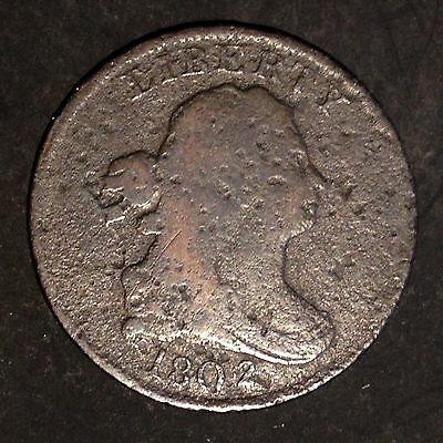 1802 Half Cent Draped Bust 1802/0 nice obverse VERY RARE coin Key Date