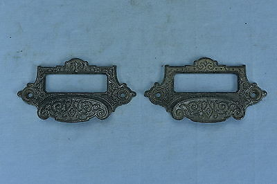 Antique  SET of 2 EMBOSSED CAST FILE CABINET DRAWER HANDLE PULLS RESTORATION #2