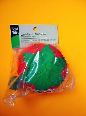"""Dritz Large Red Tomato Pin Cushion - 3 1/2"""" diameter With a Strawberry Emery"""
