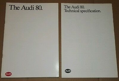 1991 Audi 80 sales brochure including technical specification insert