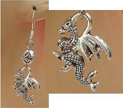 Silver Dragon Charm Drop/Dangle Earrings Handmade Jewelry NEW Accessories
