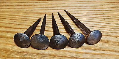 Five Antique Blacksmith Handmade Large Head Iron Forged Strong Nails