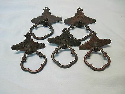 5 Antique Brass Ring Pull with backs Stamped KBC Drawer Cabinet Pulls