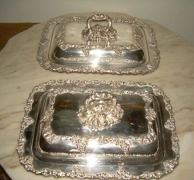 Old English   Pair Silver Plate Covered Entrée Dish