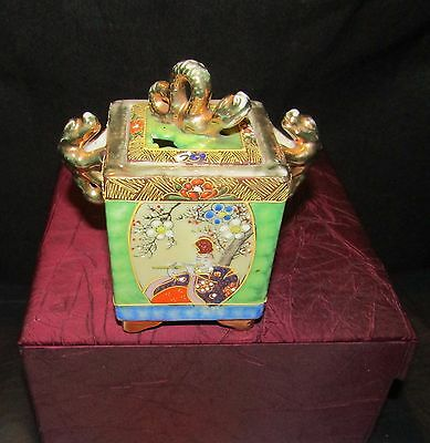 Collectable Square Oriental China Caddy, Storage Pot. Ornamental