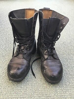 British army assault boots size 7 black leather 246L