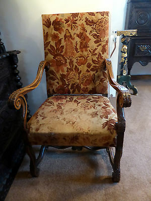 Victorian Louis Xiv Style Carved Oak Fauteuil Chair Free Shipping