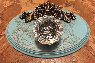 Oval Wood/Resin Plate With Glass Knob In Antique Crackled Turquoise/Teal Accent
