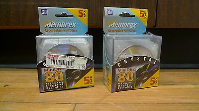10 SEALED Memorex Crystal 80min Mini Discs Blank Disc NEW Recordable Digital