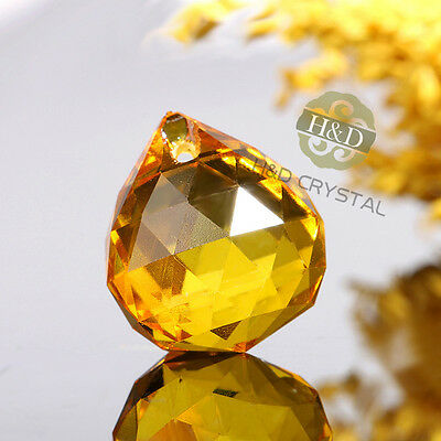 10pc Yellow Glass Crystal Ball Prism Chandelier Lamp Parts Wedding Decor pendant
