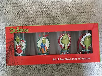 Set of 4 Dr. Seuss The Grinch Official 16oz Pint Glasses 53603 16oz Holiday Xmas