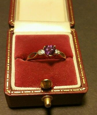 Fine Vintage Art-Deco 9CT Yellow Gold Dia & Amethyst Heart Trilogy Ring Siz N1/2