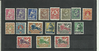 Lithuania First Definitive Issue 1921-22 Scott 97-113, Mi 87-101