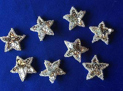 Small Silver STAR Sequin & Bead  Motif Appliques - 1.25 inch (3cms) - 10 pieces