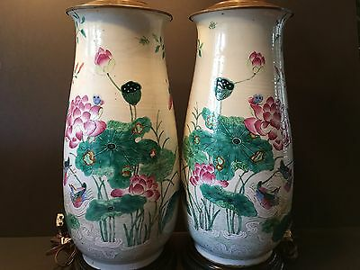 Antique Pair Chinese Famille Rose Vase Lamps, early 19th Century.