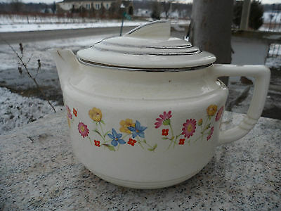 Vintage Hotoven Harker The Oldest Pottery in American Cookingware Flower Teapot