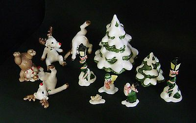 Vintage Fitz & Floyd 3 Tumbling Reindeer & 1 Bear + 7 Village Pieces - Japan