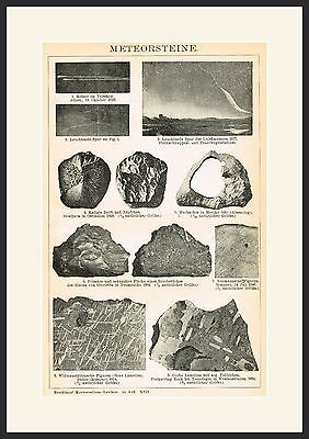 METEORITE  19th  Century print  Original Engraving