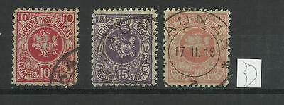 Lithuania First Berlin Issue 1919 Scott 30A 31A 33A, Mi 27 28 29 Used