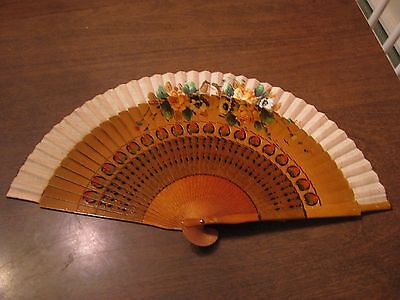 Vintage Wooden Hand Painted Hand Fan Roses Made in Spain Very Nice