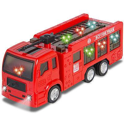 Kids Toy Fire Truck Electric Flashing Lights Siren Sound, Bump Go Action Finger