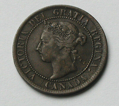 1895 CANADA Victoria Coin - Large Cent 1¢ - obverse die cracks variety