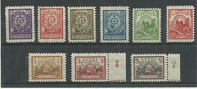 Lithuania First New Currency Definitive Issue 1923 Scott 165-173, Mi 187-195