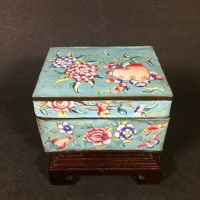 Antique Chinese Canton Enamel Box Famille Rose with Flowers and Peach