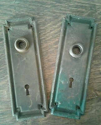 Antique Vintage Art Deco Metal Door Knob and Keyhole Backplates