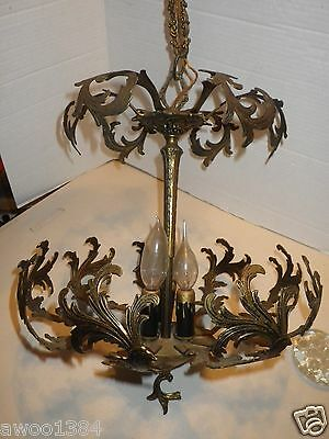 French Style Antique Cast Metal Brass Three Light Two Tier Ceiling Chandelier