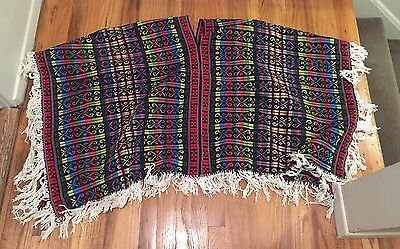 Vintage Mexican Embroidered Multicolor Poncho One-Size-Fits-All