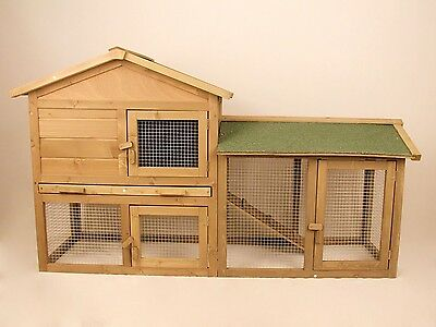 Wooden Rabbit Hutch Chicken Coop Hen House Poultry Cage Backyard with Run 58''