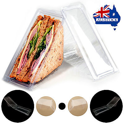 AU Stock 1000pcs Large plastic Sandwich Container /triangle/wedge Cake Box
