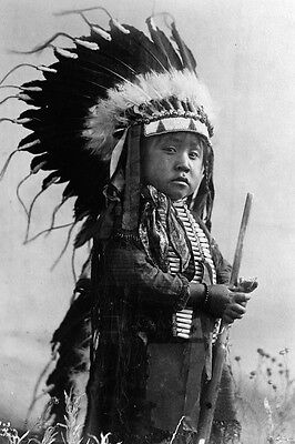 New 4x6 Native American Photo: Young Indian Boy, Future Warrior of the Cheyenne