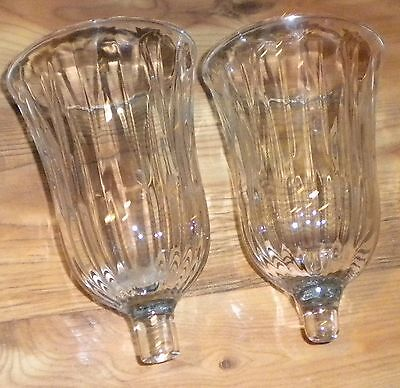 Home Interiors Lot of 2 CHANTILLY Clear Rib Votive Cups Sconce Candle Holders