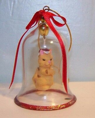 Cat Bell Christmas Holiday Porcelain Tan Cat with Santa Hat Inside glass bell