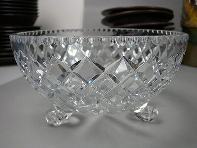 Vintage Lead Crystal Bowl with Feet Fruit Flowers Decorative